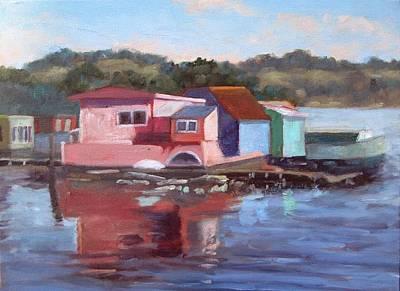 Sausalito Houseboats Poster by Deborah Cushman