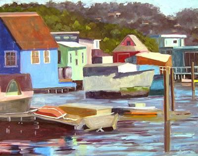 Sausalito Houseboats No 2 Poster by Deborah Cushman