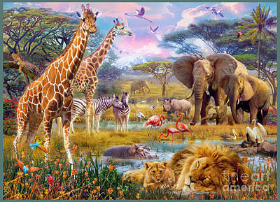 Savannah Animals Poster by Jan Patrik Krasny