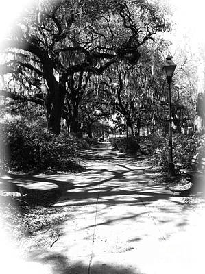 Savannah Sidewalk Black And White Poster