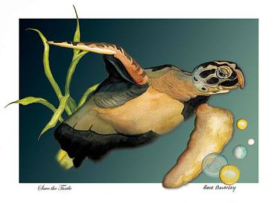 Save The Turtle Poster by Anne Beverley-Stamps
