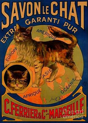 Savon Le Chat Antique French Poster Poster