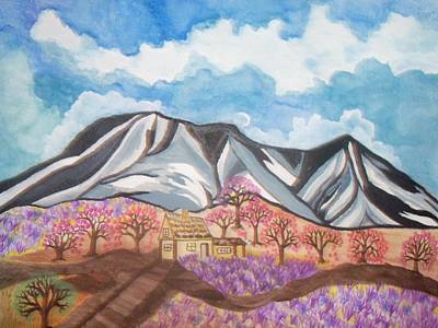 Poster featuring the painting Sawtooth Mountain Farm by Connie Valasco