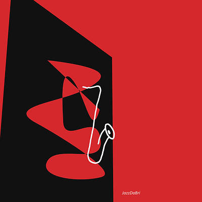 Saxophone In Red Poster by David Bridburg