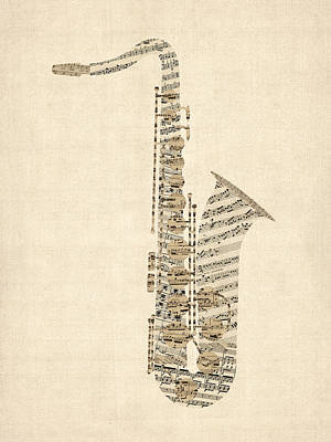 Saxophone Old Sheet Music Poster by Michael Tompsett