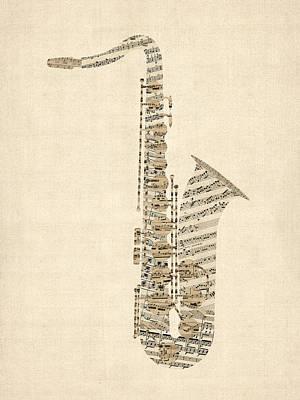 Saxophone Old Sheet Music Poster