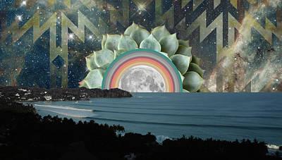Sayulita Succulent Moonrise Poster by Lori Menna