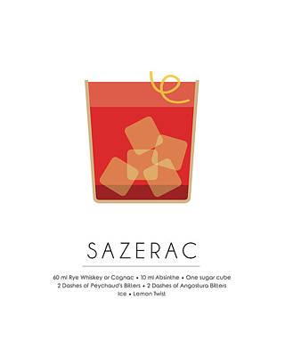 Sazerac Classic Cocktail Minimalist Print Poster by Studio Grafiikka