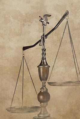 Scales Of Justice Poster by Tom Mc Nemar