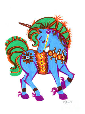 Scandinavian Dala Unicorn Blue Poster