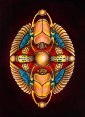 Scarab Beetle Design Poster