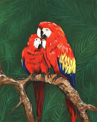 Poster featuring the painting Scarlet Macaws by Anastasiya Malakhova