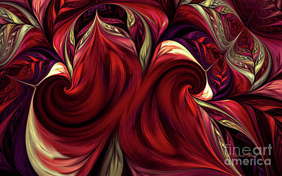 Poster featuring the digital art Scarlet Red by Deborah Benoit