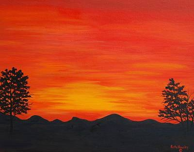 Scarlet Sunset  Sold Poster by Ruth  Housley