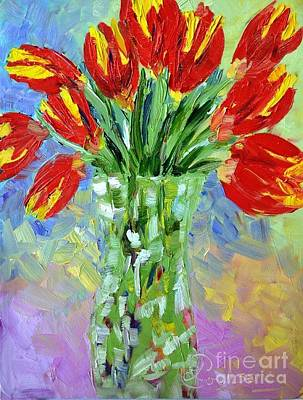 Scarlet Tulips Poster by Lynda Cookson