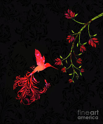 Scarlet Twilight Damask Hummingbird Fantasy Art Poster by Tina Lavoie
