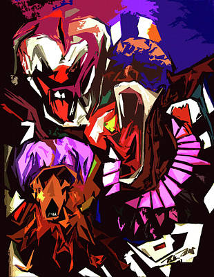 Scary Clowns Abstract Poster