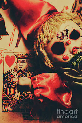 Scary Doll Dressed As Joker On Playing Card Poster