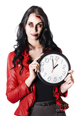 Scary Halloween Woman Holding Clock Poster