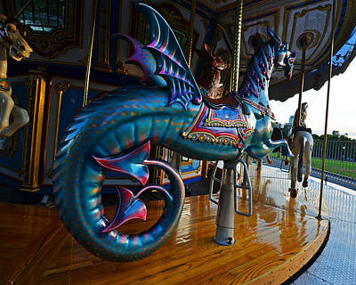 Scary Merry Go Round Boston Common Carousel Poster by Toby McGuire