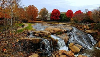 Scene From The Falls Park Bridge In Greenville, Sc Poster