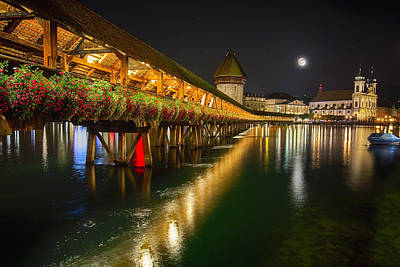 Scenic Night View Of The Chapel Bridge In Old Town Lucerne Poster by George Oze
