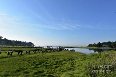 Scenic Views Of Duxbury Bay With Lush Green Marsh Grass Poster by DejaVu Designs