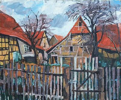 Scheunen Am Ortsrand Lienzingen Poster by Martin Stankewitz