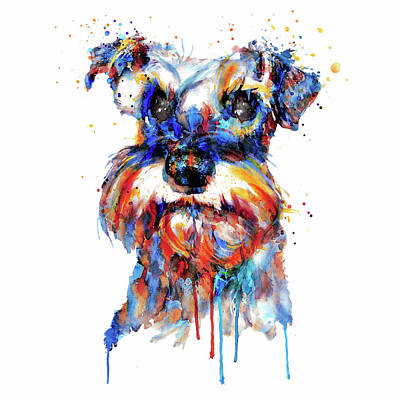 Poster featuring the mixed media Schnauzer Head by Marian Voicu