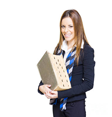 School Teacher Smiling Holding Education Textbook  Poster