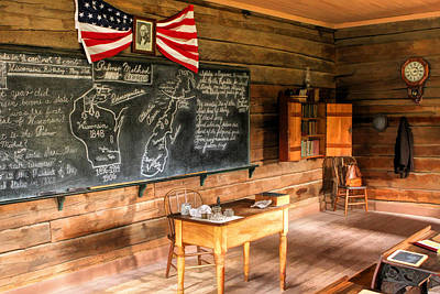 Schoolhouse Classroom At Old World Wisconsin Poster by Christopher Arndt