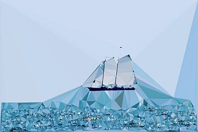 Schooner, Abstracted Poster by Sandy Taylor