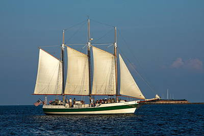 Schooner By Fort Sumter Poster by Sally Weigand