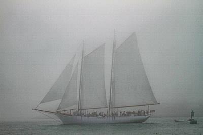 Schooner In Fog Poster