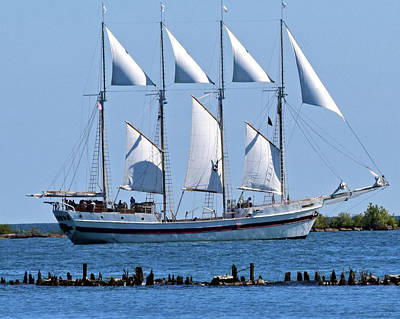 Schooner On Lake Michigan No. 1-2 Poster by Sandy Taylor