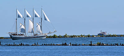 Schooner On Lake Michigan No. 1 Poster by Sandy Taylor