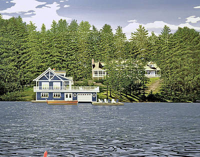 Poster featuring the painting Schultz Summer Home Muskoka by Kenneth M Kirsch