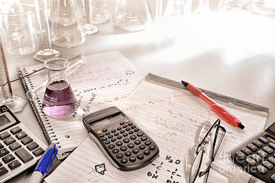 Scientific Calculator And Chemistry Formulas Notes Poster by Olivier Le Queinec