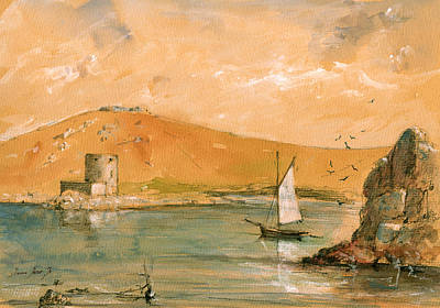 Scilly Islands Watercolor Painting Poster by Juan  Bosco
