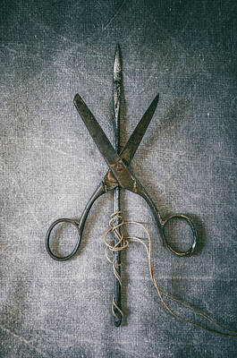 Scissors And Needle Poster by Carlos Caetano
