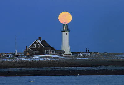 Scituate Lighthouse Snow Moon Poster by John Burk