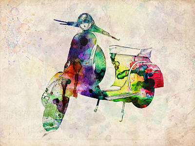 Scooter Urban Art Poster by Michael Tompsett