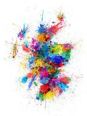 Scotland Paint Splashes Map Poster by Michael Tompsett