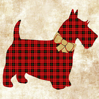 Poster featuring the mixed media Scottie Dog Plaid by Christina Rollo