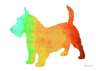 Scottish Terrier Dog Art Poster by Ken Figurski