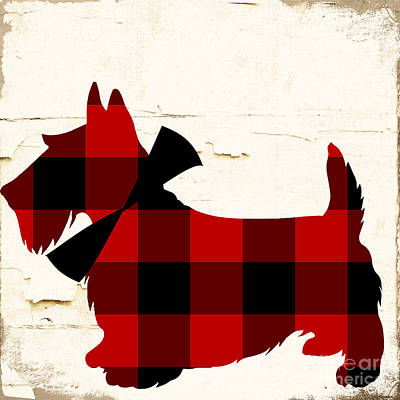 Scottish Terrier Tartan Plaid Poster by Mindy Sommers