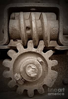 Screw And Gear Sepia Poster