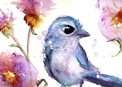 Scrub Jay In The Wildflowers Poster