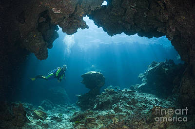 Scuba Diver In Cave Poster by Reinhard Dirscherl