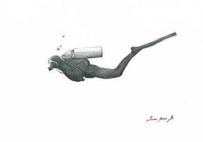 Scuba Diver  Poster by Juan Bosco